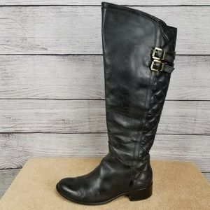 VERA GOMMA Leather Riding Tall Knee Boot Side zip…